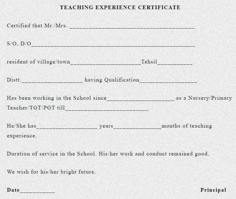 work experience certificate letter , experience certificate format , work experience certificate